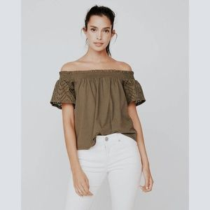 • EXPRESS ONE ELEVEN • green off the shoulder top